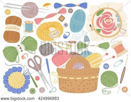 Knitting Tools. Embroidery, Sewing Or Crochet Equipment. Wool Yarns, Knitting Needles, Buttons. Flat