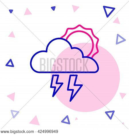 Line Storm Icon Isolated On White Background. Cloud With Lightning And Sun Sign. Weather Icon Of Sto