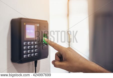 Finger Print Scan, Male Employees Press Sensors To Record Company Attendance Time And After Work, Ti