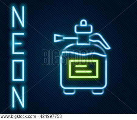 Glowing Neon Line Garden Sprayer For Water, Fertilizer, Chemicals Icon Isolated On Black Background.