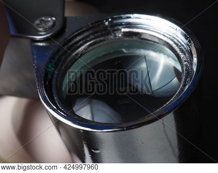 Close Up Shoot Of Jeweler Loupe
