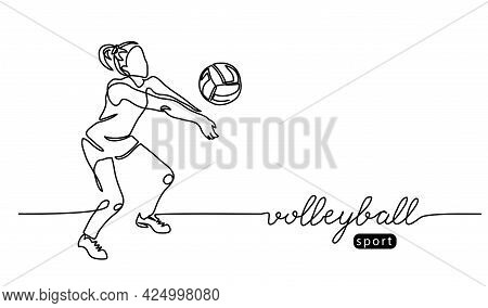 Volleyball Player. Girl, Woman Abstract Vector Illustration, Background, Banner, Poster. One Line Ar
