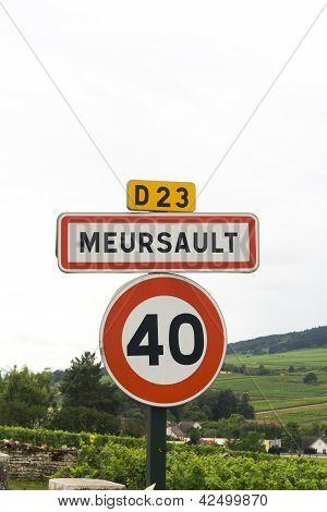 French Village Roadsign Of Meursault