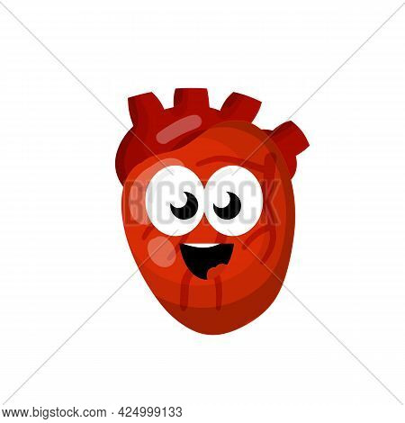 Heart. Human Internal Organ. Medicine And Cardiology. Happe Character And Funny Cute Smile Mascot. C