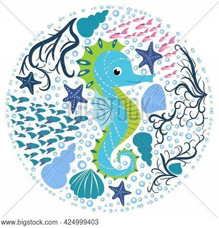 Seahorse, Scandinavian Style Hippocampus, Hand Drawn, Among Seaweed, Starfish, Seashells, Fish