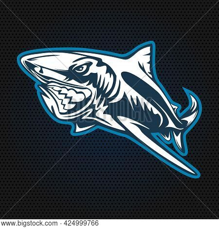 Toothy Great White Shark Fishing Logo. Strong Shark Fishing Sports Mascot Emblem. Angry Fish Vector