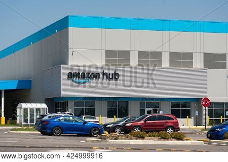 Amazon Hub Pick-up And Delivery Facility Exterior And Trademark Logo