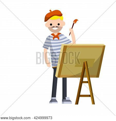 French Artist In Blue Striped Clothes With A Red Beret Draws A Picture With A Paint Brush On The Eas