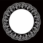 Black and white Ornamental round frame for text poster