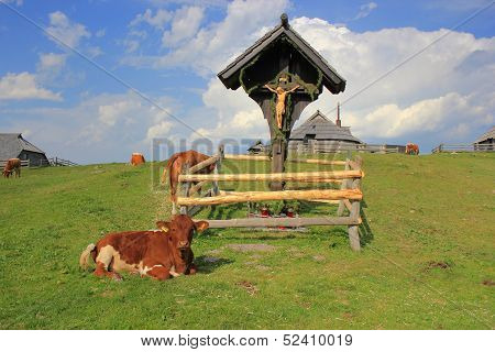Wooden Cross Pastureland, Velika Planina, Slovenia