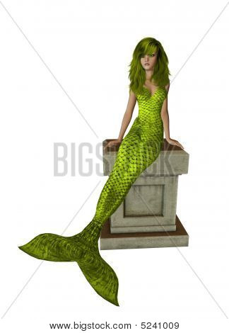 Yellow haired mermaid sitting on a pedestal 300 dpi poster