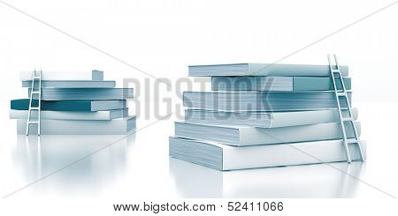 stack of books with a ladder on a white background