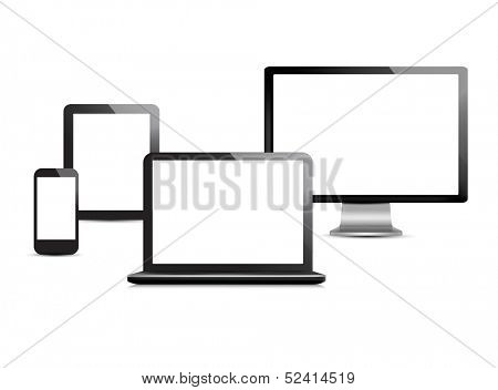 Group of computer devices. Vector.