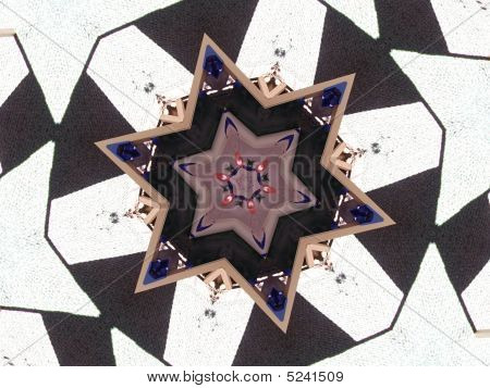 Native American Star Shaped Pattern Saphire Stones Red Petals Textured Rug Wood Frame