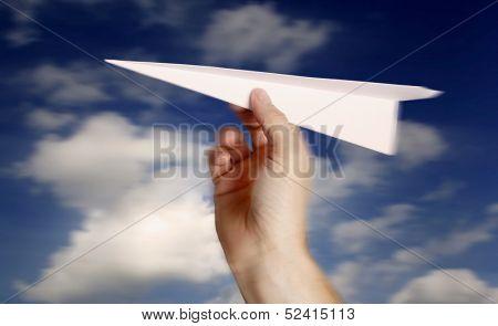 throwing a paper plane.. , motion blur