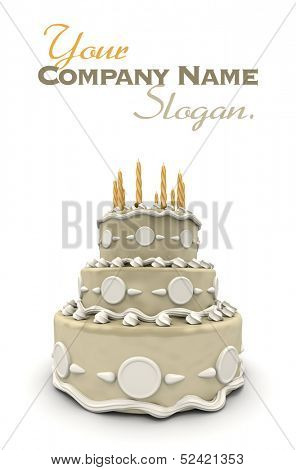 3D rendering of  a impressive wedding three story cake in white and cream