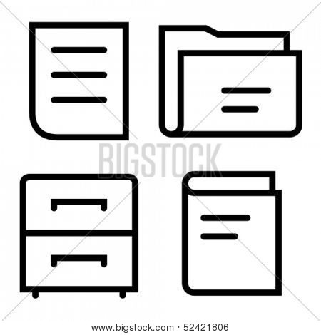 Stylish thin icons of document, folder, cabinet and book