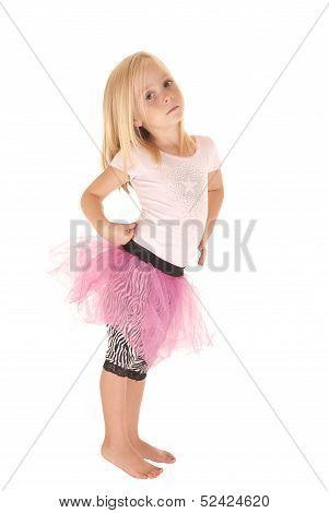 Sober Blond Preschool Girl In Pink Tutu