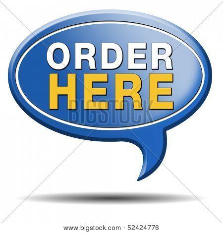 order here on online internet webshop. Shopping icon or sign or webshop label.