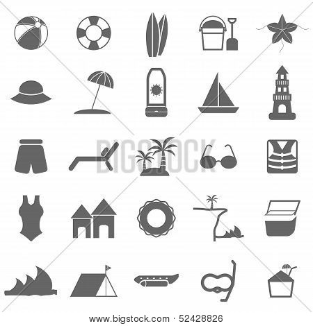 Beach Icons On White Background