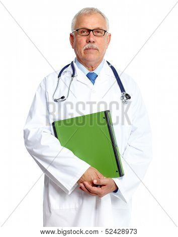 Doctor physician portrait Isolated on white background.