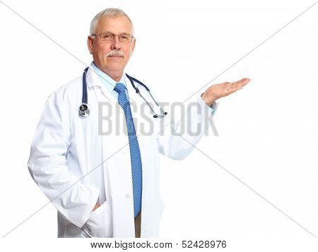 Doctor physician inviting Isolated on white background.