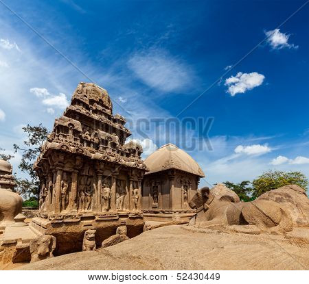 Five Rathas - ancient Hindu monolithic Indian rock-cut architecture. Mahabalipuram, Tamil Nadu, South India poster
