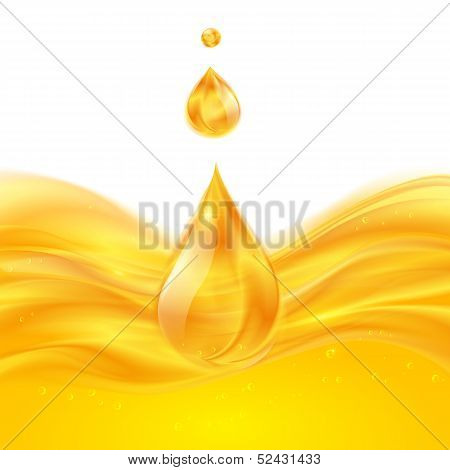 Yellow liquid oil or juice vector background poster