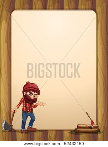 Illustration of an empty wooden template with a woodman holding an axe
