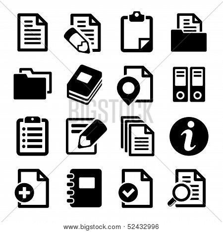 Documents and folders icons set. Vector illustration. poster