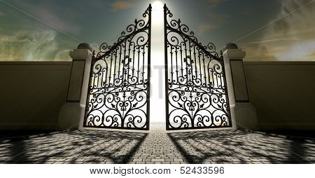 A set of ornate gates to heaven opening under an ethereal light and cloudy afterlife poster