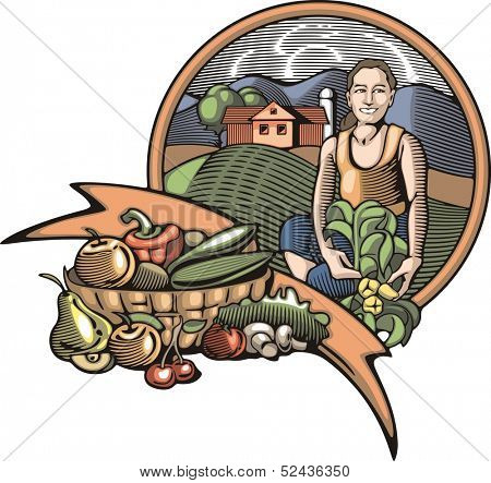 Vector illustration in retro woodcut style of a young female farmer, happy with the good harvest.