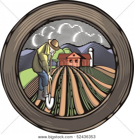 Vector illustration in retro woodcut style of a farmer, digging the land.