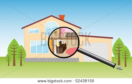House under magnifying