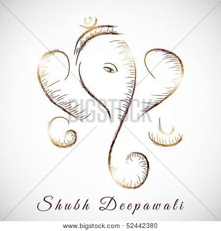 Illustration of Hindu mythology Lord Ganesha on abstract grey background for Indian festival of lights Shubh Deepawali (Happy Deepawali).  poster