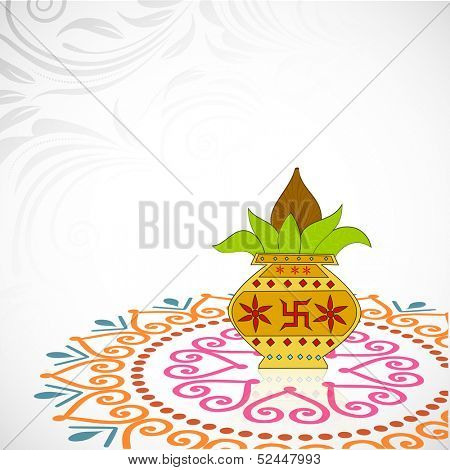 Indian festival of lights, Happy Diwali background with mangal kalash on floral decorated abstract background.