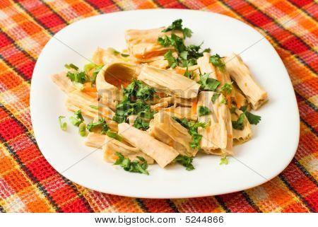 Chinese of korean Yuba (tofu bamboo) salad with cilantro poster