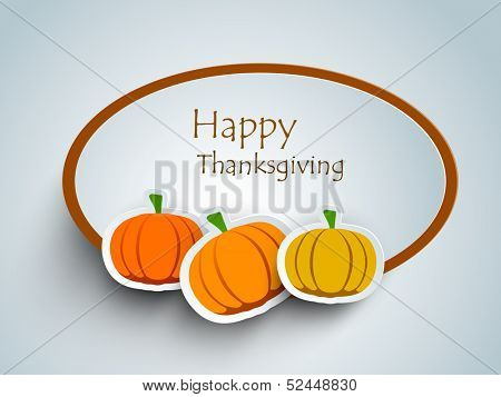 Happy Thanksgiving sticker, tags or labels with pumpkins. poster