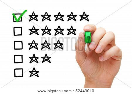 Hand putting check mark with green marker on five star rating. poster
