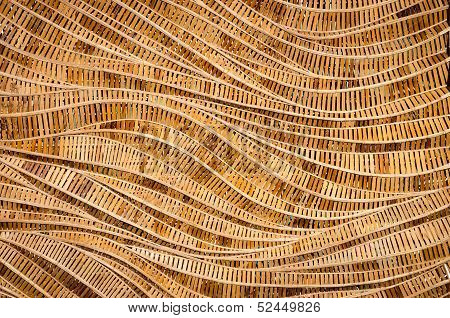Nature Background Of Brown Handicraft Weave Texture Bamboo Surface