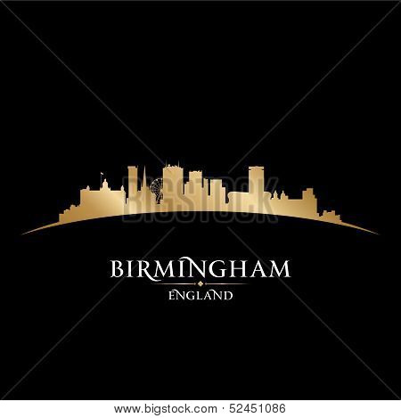 Birmingham England City Skyline Silhouette Black Background