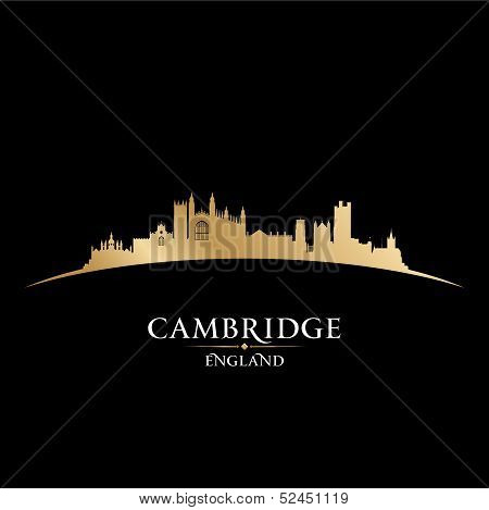 Cambridge England City Skyline Silhouette Black Background