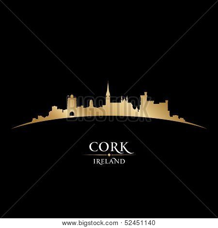 Cork Ireland City Skyline Silhouette Black Background