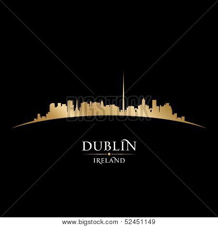 Dublin Ireland City Skyline Silhouette Black Background