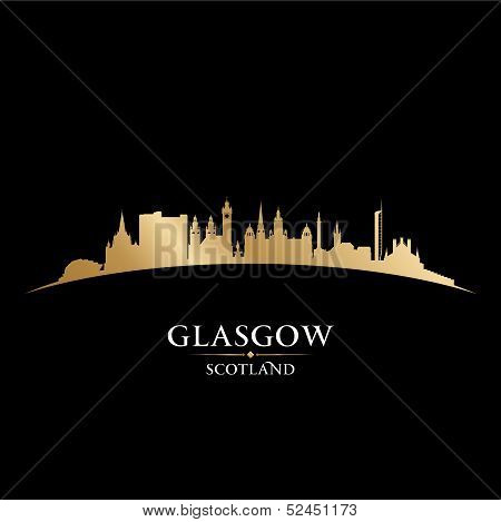 Glasgow Scotland City Skyline Silhouette Black Background