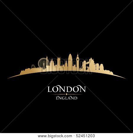 London England City Skyline Silhouette Black Background