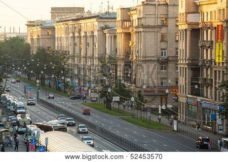ST.PETERSBURG, RUSSIA - JUN 26: Top view of the Stachek - Prospect in St.Petersburg, center line of the Kirov district, Jun 26, 2013, SPb, Russia. The current name of the prospectus from Aug 3, 1940.