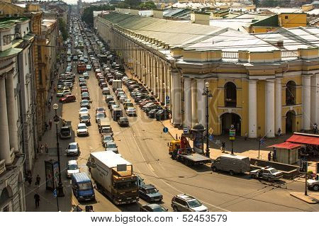 ST.PETERSBURG, RUSSIA - JUN 27: Cars stands in traffic jam on the city center, Jun 27, 2013, SPb, Russia. Shortness of traffic due to repairs Greater Obukhov (cable-stayed) Bridge.