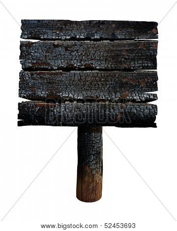Charred wooden signboard. Old sign isolated on white.
