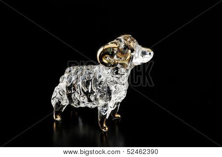 Elaborated Sheep Hand Blown Glass With Gilt